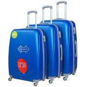 Чемодан Travel Quotes Emoji Blue S+